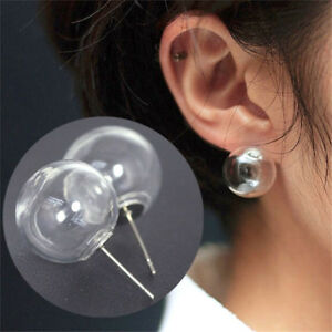 Clear Ball Stud Earrings Small Transparent Bubble Minimalist Glass Simple Round