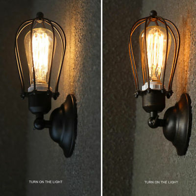 Industrial Retro Vintage Sconce Wire Cage Wall Light Fixture Home Decor