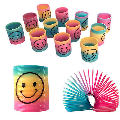 12pcs Kids Classic Rainbow Slinky Face Springs Party Bag Fillers Toy