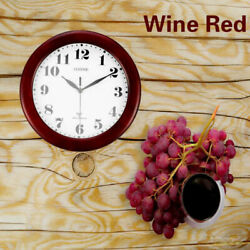 Wine Red Clock Classic 12 Atomic Radio Controlled Wall Clock BGW612-YG