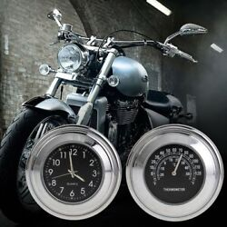 7/8 1 Motorcycle Handlebar Mount Watch Black Dial Clock & Thermometer Temp Top