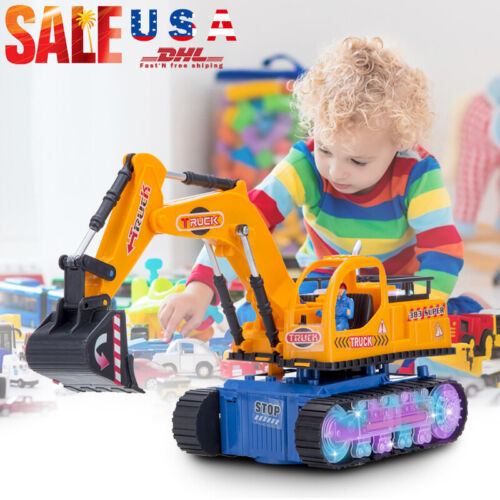 Toys for Boys Toddler LED Electric Excavator Truck Kids Car