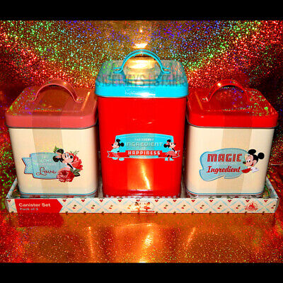 RETRO DISNEY KITCHEN CANISTER SET tin boxes mickey minnie keen cute cooking NEW