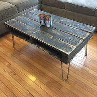 Rustic Vintage Style Recycled Wood Table on Hairpin Legs