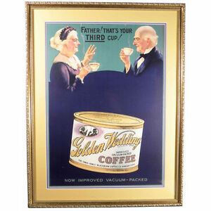 Antique/Vintage Coffee Advertising Sign - Golden Wedding COFFEE