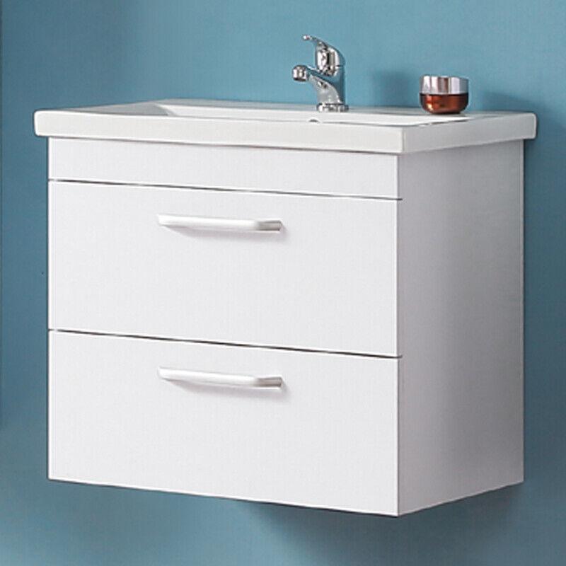 Badmöbel Set 60cm Waschbecken mit Unterschrank Waschtisch Schublade Hängeschrank