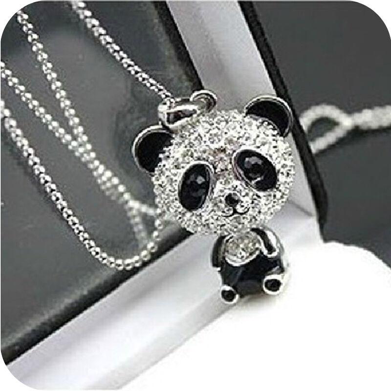 Jewellery - Cute Kitsch * PANDA Necklace * Girls Jewellery Rhinestone Crystal Long Pendant