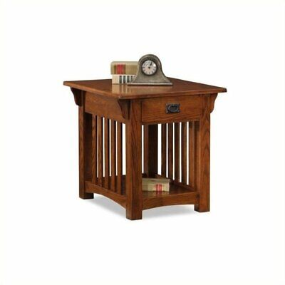- Bowery Hill Mission End Table with Storage Drawer and Shelf in Oak
