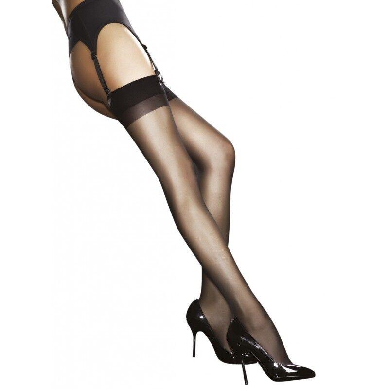 Justine Calze Di Nylon sexy per porta giarrettiere Fiore Nero/bianco 20 Den