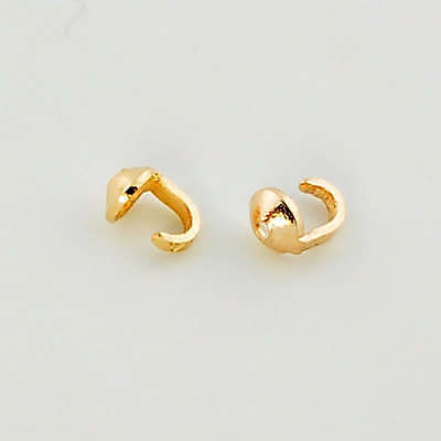 14K Solid Yellow Gold Crimp Hook END Findings (2)