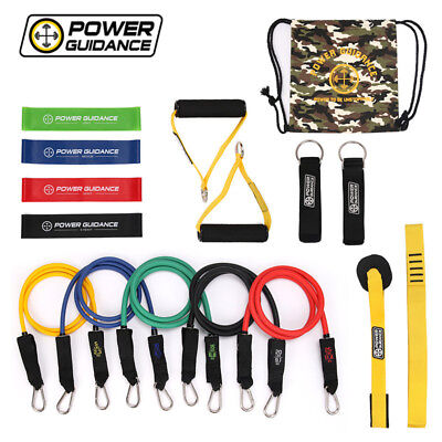POWER GUIDANCE 16 pcs Resistance Bands Set for Fitness Yoga Gym Training
