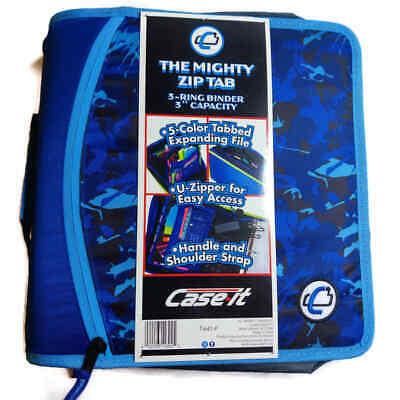 Case It Mighty Zip Tab 3-inch 3-ring Zipper Binder T-641-p Blue Splotches New