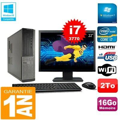 PC DELL 3010 DT Core I7-3770 Ram 16Go Disque 2 To Wifi W7 Ecran 22