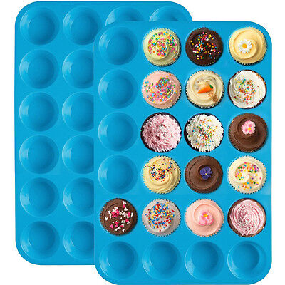 24 Cavity Silicone Mini Muffin Cupcake Cup Mould Soap Cookies Bakeware Pan Tray