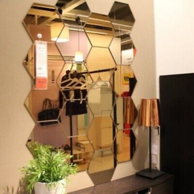 Home Decoration - 12Pcs Removable 3D Mirror Hexagon Wall Stickers Acrylic Art DIY Home Decor Decal