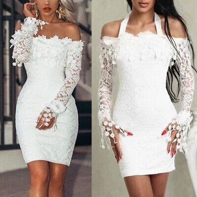 US Women Bodycon Lace Dress Evening Party Cocktail Bridesmaid Wedding Mini Dress
