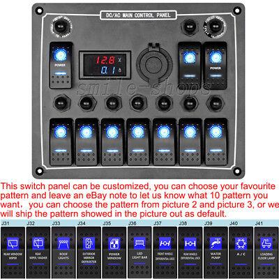 Waterproof Marine/Boat Car Switch Panel 10 Gang LED Rocker Blank Switch + Labels