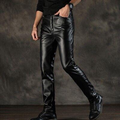 Men Fleece Lined Faux Leather Biker Pants Wet Look Slim Winter Soft Trouser Cool (Faux Leather Pants For Men)
