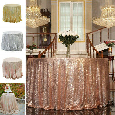 Glitter Table Cloth (Round Sequin Glitter Tablecloth Sparkly Table Cloth Cover Wedding Party Decor)