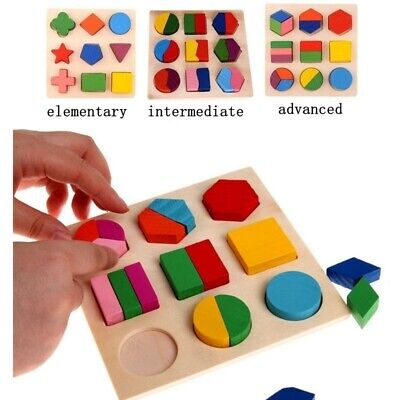 Educational Puzzle Sets Wooden Geometry Wood Toys For Baby Kids Early Learning  ](Kids Educational)