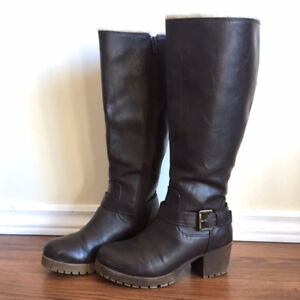 Faux Leather Boots, Size 6.5