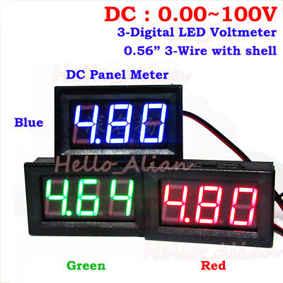 Dc 0.00-100v 3 Digital Led Panel Voltage Meter Voltmeter 12v 24v 36v 48v 72v Car