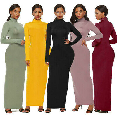 Sexy Womens Fashion Long Maxi Dress Long Sleeve Turtleneck Bodycon Pencil Dress