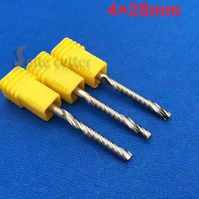 3pcs Hq Acrylic Wood Pvc Plastic Endmill Single Flute Cnc Router Bits 4mm 28mm