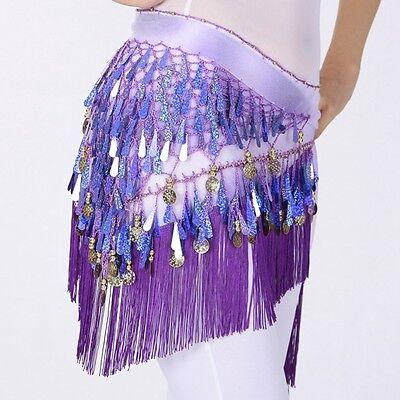 New Belly Dance Hip Scarf Women Dancing Triangle Tassel Sequins Skirt Belt Wrap