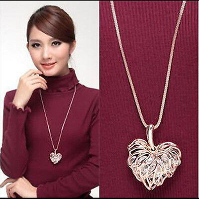 Women Hollow Heart Crystal Rhinestone Pendant Long Chain Necklace Sweater