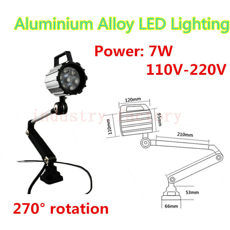 Aluminium Alloy Work Light LED Lamp 110-220V 7W For CNC Lathe Machine Waterproof