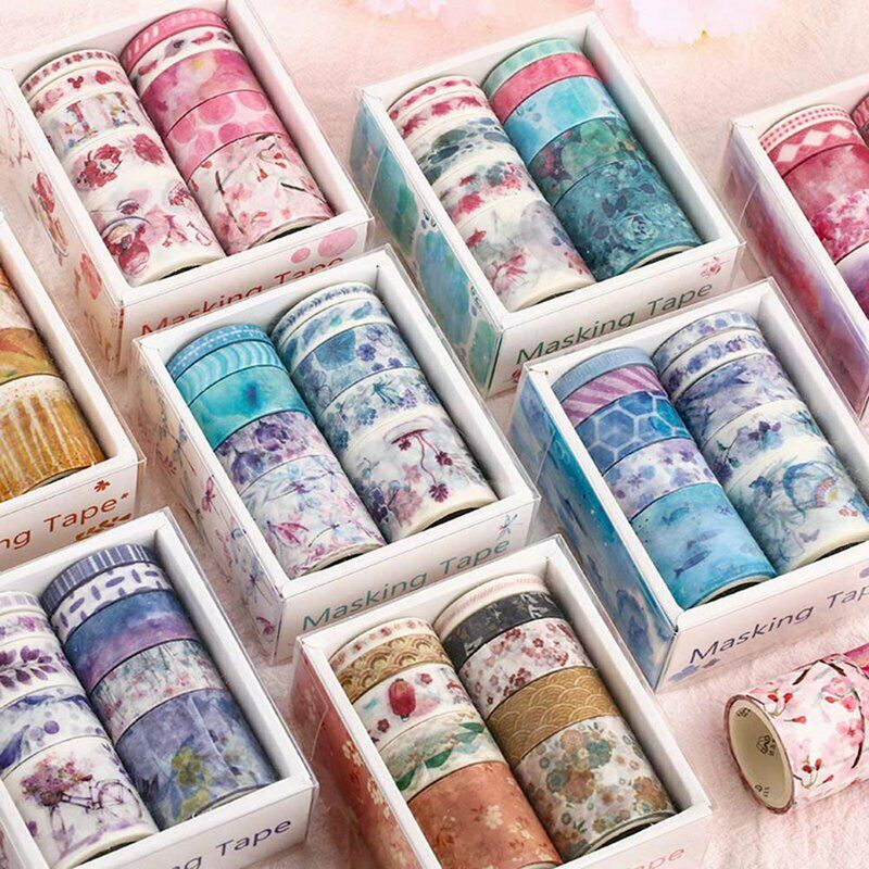 White Grid Washi Tape Colorful Writable Paper Adhesive Masking Tapes Crafts Decor Labels Arts Book Designs FRIUSATE Washi Tape