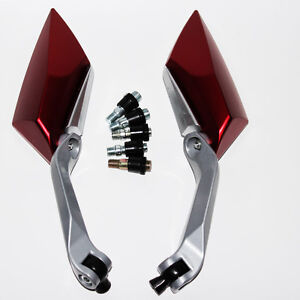 Motorcycle Rear View Mirrors Pair Red Shape Universal Diamond Street Side Yamaha