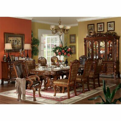 Bowery Hill Dining Table with Double Pedestal in Cherry Oak Double Pedestal Oak Table