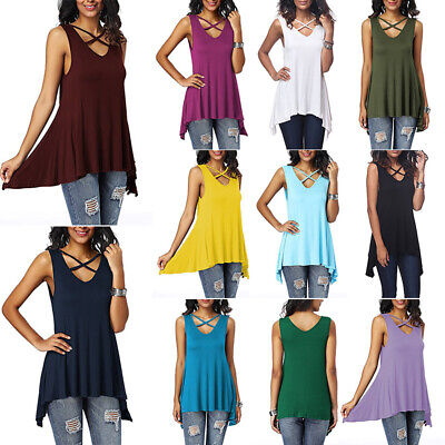 Sleeveless Tunic Top - Women's Sleeveless Tunic Tops V-Neck Tank Top T Shirt  Loose Vest Swing Blouse