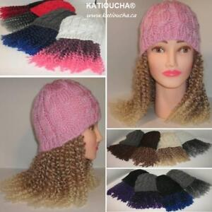 Beanies with Hair. Ideal for Alopecia,Hair loss after Chemotherapy for Cancer,alternative to wigs,hair extensions