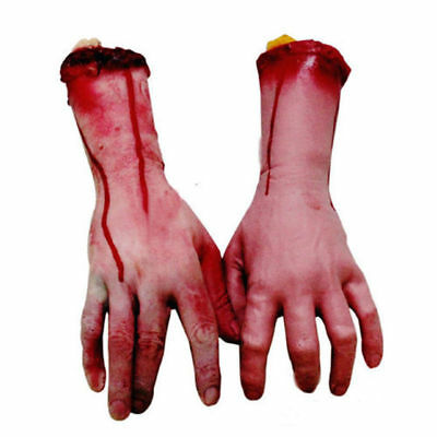 Bloody Hands (Bloody Scary Halloween Fake Hand Severed Arm Horror party Decor Haunted House)