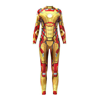 Avengers Iron Man Jumpsuits Womens Girls Cosplay Costumes Zentai Halloween Tight - Girl Iron Man Halloween Costume