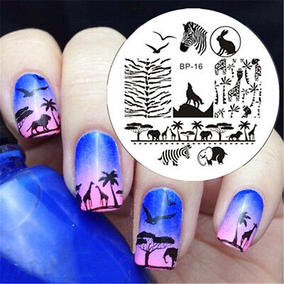 1Pc BORN PRETTY Nail Art Image Stamping Plates Stencil Zebra Wolf Pattern BP16](Wolf Nails)