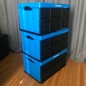3 Collapsible Storage Bins/Container/Boxes CleverMade Crates