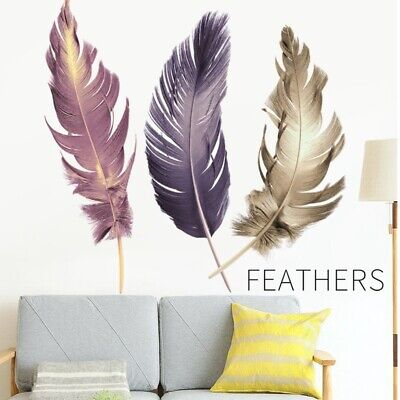 Nordic Style Large Feathers Living Room Background Wall Stickers Decor Art Decal](Room Background)