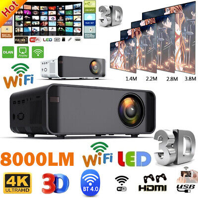 LED Smart Home Theater Projector Android 6.0 Wifi BT 1080p FHD 3D Video Movie