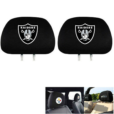 New Team Promark Nfl Oakland Raiders Head Rest Covers For Car Truck Suv Van