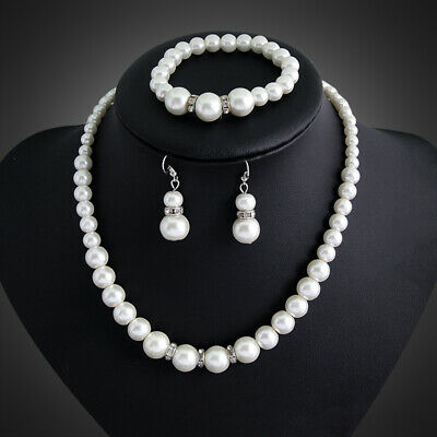 Necklace Set Pearl Jewelry Earrings Wedding Women Crystal Fashion Bridal Pendant