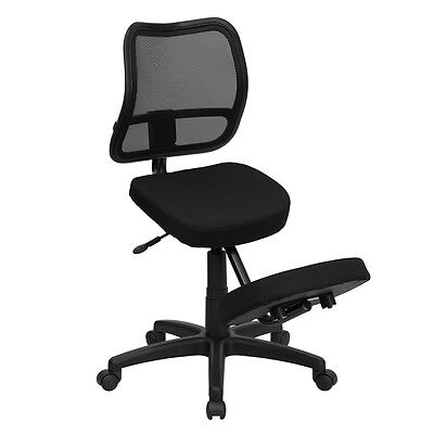 Flash Furniture Mobile Ergonomic Kneeling Task Chair With Black Curved Mesh...