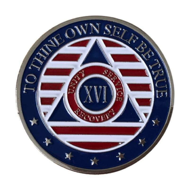 16 Year Patriotic Stars and Stripes AA/NA Recovery Medallion - Red/White/Blue