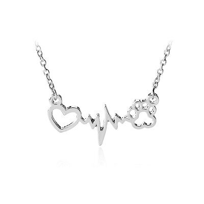 Family Best Friend Dog Cat Pet Paws  Heart Love Pendant Necklace Jewelry