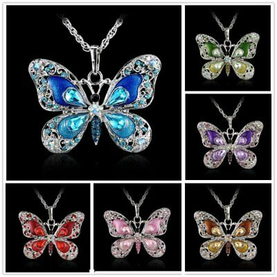 Women Rhinestone Crystal Butterfly Pendant Necklace Sweater Silver Chain - Crystal Pendant Silver Necklace