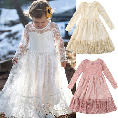 Boutique Kids Girls Princess Lace Dress Wedding Party Formal Dresses Clothes USA