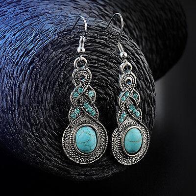 Fashion Women Natural hot Turquoise cute tibet silver hook earrings CZ jewelry